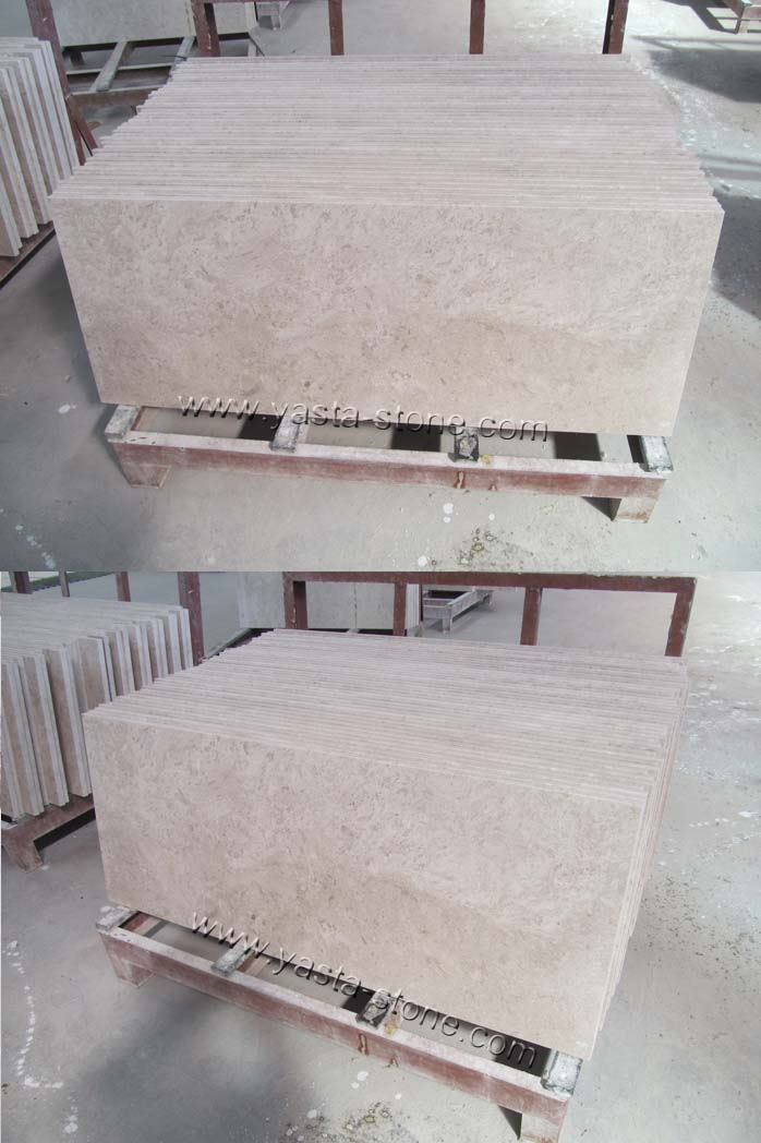 Laminated Square Edges White Rose Marble Countertops