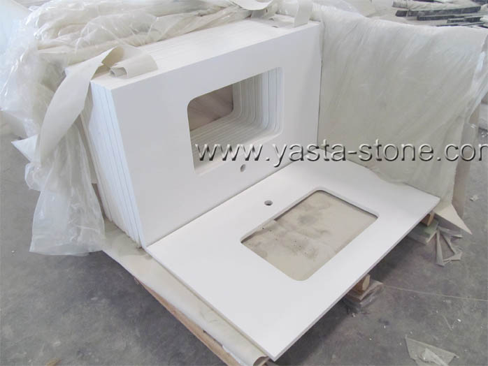 Square Sink Quartz vanity Tops