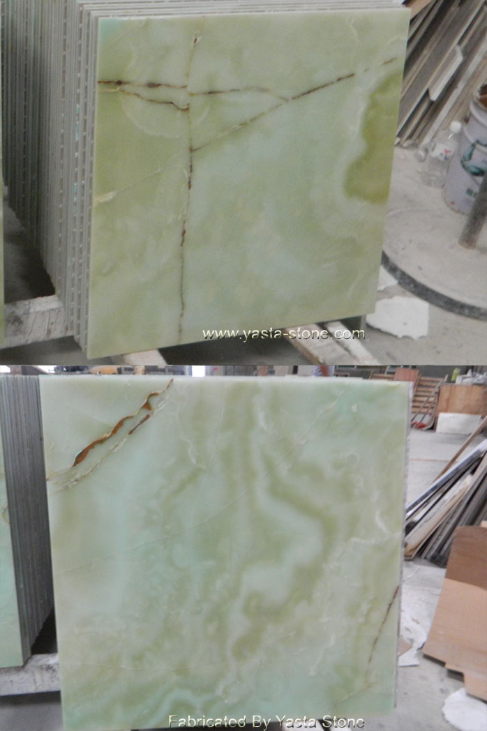 Natural Yellow Vein Green Onyx Marble Floor Tile