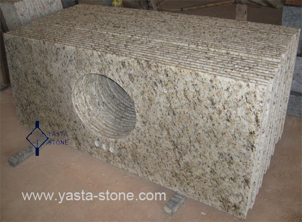 Giallo ornamental granite kitchen vanity tops eased polished edges
