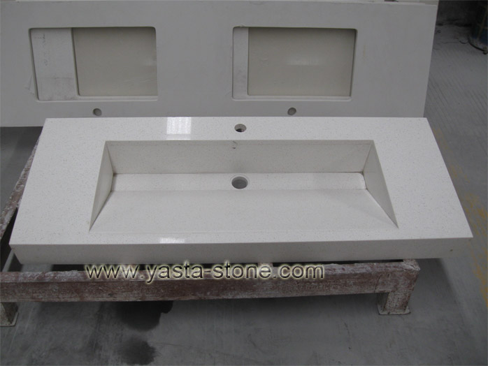 Quartz stone vanity tops with quartz sink for Bathroom quartz vanity tops